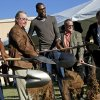 Photo - From left, Hal Smith, Kevin Durant, Dave Zimmer, and Randy Hogan break ground for Kevin Durant's new restaurant venture, KD's, in Oklahoma City's Bricktown district, Tuesday, October 30, 2012. Photo by Bryan Terry, The Oklahoman