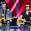 "Photo - From left, Zach and Colton Swon are shown during the blind auditions on ""The Voice."" NBC PHOTO <strong>NBC</strong>"