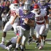 Kansas State Wildcats\' Collin Klein (7) runs for a touchdown during the college football game between the University of Oklahoma Sooners (OU) and the Kansas State University Wildcats (KSU) at Bill Snyder Family Stadium on Sunday, Oct. 30, 2011. in Manhattan, Kan. Photo by Chris Landsberger, The Oklahoman ORG XMIT: KOD