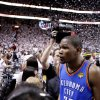 Oklahoma City\'s Kevin Durant (35) walks off the court after Game 5 of the NBA Finals between the Oklahoma City Thunder and the Miami Heat at American Airlines Arena, Thursday, June 21, 2012. Oklahoma City lost 121-106. Photo by Bryan Terry, The Oklahoman
