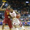 Oklahoma\'s Je\'lon Hornbeak (5) drives to the basket at Iowa State\'s Will Clyburn (21) defends during the Phillips 66 Big 12 Men\'s basketball championship tournament game between the University of Oklahoma and Iowa State at the Sprint Center in Kansas City, Thursday, March 14, 2013. Photo by Sarah Phipps, The Oklahoman