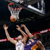 Oklahoma City\'s Nick Collison (4) and Lakers\' Andrew Bynum (17) fight for a rebound during the NBA basketball game between the Oklahoma City Thunder and the Los Angeles Lakers, Sunday, Feb. 27, 2011, at the Oklahoma City Arena.Photo by Sarah Phipps, The Oklahoman