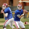 COLLEGE FOOTBALL: Quarterbacks Trevor Knight (9) and Kendal Thompson (1) throw during Sooner spring football drills at University of Oklahoma (OU) on Tuesday, March 12, 2013 in Norman, Okla. Photo by Steve Sisney, The Oklahoman