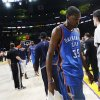 Oklahoma City\'s Kevin Durant (35) leaves the court after Game 3 in the second round of the NBA basketball playoffs between the L.A. Lakers and the Oklahoma City Thunder at the Staples Center in Los Angeles, Friday, May 18, 2012. Photo by Nate Billings, The Oklahoman