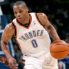 Oklahoma City\'s Russell Westbrook takes the ball downcourt against Philadelphia during the first half of their NBA basketball game at the Ford Center in Oklahoma City on Tuesday, Dec. 2, 2009. By John Clanton, The Oklahoman