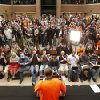 The crowd gathered in the atrium of the student union breaks into cheers and applause at the moment freshman basketball player tells them he will return next year as a student and will play on the team. OSU basketball players Le\'Bryan Nash, Markel Brown and Marcus Smart delighted fans when they announced at a noontime press conference they intend to return for another season as members of the Cowboys basketball team. Cheering fans lined all levels in the Student Union atrium Wednesday, April 17, 2013. by Jim Beckel, The Oklahoman.