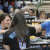 Cristen and Chad DeJager and Alisha Jannelli, back, have dinner April 21 at Deep Deuce Grill before Game 2 of the Thunder's playoff series with Memphis. Photo by Doug Hoke, The Oklahoman DOUG HOKE -