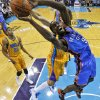 Oklahoma City Thunder power forward Serge Ibaka (9) goes to the basket during the first half of an NBA basketball game against the New Orleans Hornets in New Orleans, Friday, Nov. 16, 2012. The Thunder won 110-95. (AP Photo/Jonathan Bachman) ORG XMIT: LAJB117