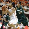 Oklahoma State\'s Tiffany Bias (3) shoots a lay up as Cal Poly\'s Brittany Woodard (32) defends during the women\'s college basketball game between Oklahoma State and Cal Poly at Gallagher-Iba Arena in Stillwater, Okla., Friday, Nov. 9, 2012. Photo by Sarah Phipps, The Oklahoman