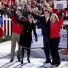 Republican presidential candidate, former Massachusetts Gov. Mitt Romney, his wife Ann, right, along with his running mate Rep. Paul Ryan, R-Wis., left, and his wife Janna, wave to supporters after Romney spoke at a campaign event at The Square at Union Centre, Friday, Nov. 2, 2012, in West Chester, Ohio. (AP Photo/David Goldman)