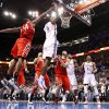 Oklahoma City\'s Serge Ibaka (9) misses a last second shot as Houston\'s Patrick Patterson (54) defends during the NBA basketball game between the Oklahoma City Thunder and the Houston Rockets at the Chesapeake Energy Arena, Tuesday, March 13, 2012. Photo by Sarah Phipps, The Oklahoman.