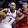 Memphis Grizzlies\' Jerryd Bayless (7) drives past Houston Rockets\' Jeremy Lin, right, during the first half of an NBA basketball game in Memphis, Tenn., Friday, Nov. 9, 2012. (AP Photo/Daniel Johnston)