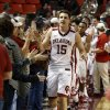 Oklahoma Sooner Tyler Neal (15) leaves the court as the University of Oklahoma Sooners (OU) men defeat the Texas Longhorns (TU) 77-65 in NCAA, college basketball at The Lloyd Noble Center on Saturday, March 1, 2014 in Norman, Okla. Photo by Steve Sisney, The Oklahoman