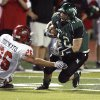 Norman North\'s Beau Blankenship cuts in front of Brian Didonato (26) as the Timberwolves play Mustang at Harve Collins Field in Norman, Oklahoma on Thursday October 9, 2008. BY STEVE SISNEY, THE OKLAHOMAN