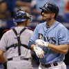 Photo - Tampa Bay Rays' Matt Joyce reacts after striking out to end the eighth inning of a baseball game against the Texas Rangers, Sunday, April 6, 2014, in St. Petersburg, Fla. (AP Photo/Mike Carlson)