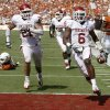 Oklahoma\'s Demontre Hurst (6) scores a touchdown after an interception during the Red River Rivalry college football game between the University of Oklahoma Sooners (OU) and the University of Texas Longhorns (UT) at the Cotton Bowl in Dallas, Saturday, Oct. 8, 2011. Photo by Bryan Terry, The Oklahoman