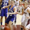 Choctaw\'s Sadie Dunaway, left, and Edmond Memorial\'s Andee Decker go for a loose ball during the Class 6A girls basketball regional championship game at Edmond Memorial High School, Saturday, Feb. 25, 2012. Photo By Bryan Terry, The Oklahoman