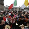 A band plays in St. Peter\'s Square as they wait for the Angelus prayer with Pope Francis at the Vatican, Sunday, March 17, 2013. (AP Photo/Alessandra Tarantino)