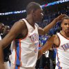 Oklahoma City\'s Kevin Durant (35) and Thabo Sefolosha (2) celebrate following the first round NBA basketball playoff game between the Oklahoma City Thunder and the Denver Nuggets on Wednesday, April 20, 2011, at the Oklahoma City Arena. Photo by Sarah Phipps, The Oklahoman