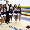 Women\'s basketball great Cheryl Miller takes a picture with the Langston cheerleaders before the beginning of a press conference where she was introduced as the head coach of Langston\'s women\'s basketball program on Tuesday, April 29, 2014 Photo by KT King, The Oklahoman