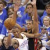 Miami\'s Shane Battier (31) defends on Oklahoma City\'s Russell Westbrook (0) during Game 2 of the NBA Finals between the Oklahoma City Thunder and the Miami Heat at Chesapeake Energy Arena in Oklahoma City, Thursday, June 14, 2012. Photo by Chris Landsberger, The Oklahoman