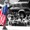 Unidentified man wearing flag in Edmond parade - July 4, 2007 Community Photo By: Rick Buchanan Submitted By: Rick, Edmond