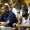 THE TEAMMATE : On the day before he announced his five-year contract extension with the Oklahoma City Thunder on Twitter, Kevin Durant was the only active NBA scoring champ sitting on the bench at the Orlando Summer League. Shown here with James Harden, Durant has showed up at summer league every year since joining the league. Twice he\'s played, twice he\'s shown up to support teammates.
