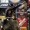 Justin McBride of Elk City, Okla., gets the option of a re-ride on this attempt atop Paleface during the PBR (Professional Bull Riders) U.S. Smokeless Tobacco Challenger Championship at the Ford Center in Oklahoma City, Friday, Feb. 16, 2007. By Nate Billings, The Oklahoman