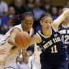 Photo - Notre Dame's Natalie Achonwa (11) and Duke's Oderah Chidom chase the ball during the first half of an NCAA college basketball game in Durham, N.C., Sunday, Feb. 2, 2014. (AP Photo/Gerry Broome)