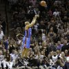 Oklahoma City\'s Derek Fisher (37) shoots a basket during Game 1 of the Western Conference Finals between the Oklahoma City Thunder and the San Antonio Spurs in the NBA playoffs at the AT&T Center in San Antonio, Texas, Sunday, May 27, 2012. Oklahoma City lost 101-98. Photo by Bryan Terry, The Oklahoman
