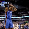 Oklahoma City\'s Russell Westbrook (0) reacts in the final minutes of Oklahoma City\'s loss in game 5 of the Western Conference Finals in the NBA basketball playoffs between the Dallas Mavericks and the Oklahoma City Thunder at American Airlines Center in Dallas, Wednesday, May 25, 2011. Photo by Bryan Terry, The Oklahoman