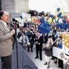 Mayor Ron Norick addresses a crowd at a rally to kick off the campaign for the city's $237.6 million downtown redevelopment plan known as Metropolitan Area Projects Plan (MAPS) on Nov. 10, 1993. Oklahoman Archives Photo