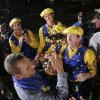 Europe\'s Sergio Garcia shows the trophy to some fans after winning the Ryder Cup PGA golf tournament Sunday, Sept. 30, 2012, at the Medinah Country Club in Medinah, Ill. (AP Photo/Charlie Riedel) ORG XMIT: PGA271