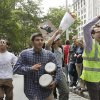 FILE - In this Sept. 17, 2011 file photo, a man beats a pair of bongo drums as demonstrators affiliated with the Occupy Wall Street movement gather to call for the occupation of Wall Street in New York. Monday, Oct. 17, 2012 marks the one-year anniversary of the Occupy Wall Street movement. (AP Photo/Frank Franklin II, File)