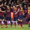 FC Barcelona\'s Lionel Messi, from Argentina, center, reacts after scoring with his teammates against Almeria during a Spanish La Liga soccer match at the Camp Nou stadium in Barcelona, Spain, Sunday, March 2, 2014. (AP Photo/Manu Fernandez)