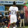 United States\' head coach Juergen Klinsmann, right, gives his players instructions during the group G World Cup soccer match between Ghana and the United States at the Arena das Dunas in Natal, Brazil, Monday, June 16, 2014. (AP Photo/Petr David Josek)