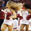 The OU pom squad dances during a game between the University of Oklahoma and San Diego State in the second round of the NCAA men\'s college basketball tournament at the Wells Fargo Center in Philadelphia, Friday, March 22, 2013. San Diego State beat OU, 70-55. Photo by Nate Billings, The Oklahoman