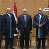 This image made from Egyptian State Television shows Egypt\'s interim president Adly Mansour, center, standing with judges during a swearing in ceremony in at the constitutional court in Cairo, Thursday, July 4, 2013. Egypt\'s chief justice of the Supreme Constitutional Court has been sworn in as interim president after Egyptians awoke Thursday to a new political reality after the military overthrew the country\'s first democratically elected president after only a year in office, shunting the Islamist leader aside in the same kind of Arab Spring uprising that brought him to power. (AP Photo/Egyptian State TV)