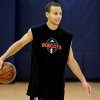 Photo - Former Davidson College player Stephen Curry relaxes following drills during a workout at the Charlotte Bobcats basketball training facility Thursday, June 4,2009, at Time Warner Cable Arena in Charlotte, N.C.  Curry was one of several prospects working out at the team's practice facility. (AP Photo/The Charlotte Observer, Jeff Siner) ORG XMIT: NCCHN204