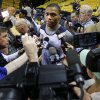 Oklahoma City\'s Russell Westbrook talks with reporters during a shootaround before Game 6 in the first round of the NBA playoffs between the Oklahoma City Thunder and the Memphis Grizzlies at FedExForum in Memphis, Tenn., Thursday, May 1, 2014. Photo by Bryan Terry, The Oklahoman