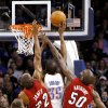 Oklahoma City\'s Kevin Durant is defended by Miami\'s Mike Miller, Joel Anthony, and James Jones during their NBA basketball game at the OKC Arena in Oklahoma City on Thursday, Jan. 30, 2011. Photo by John Clanton, The Oklahoman