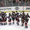 Photo - Anaheim Ducks players celebrate their team's 4-3 win against the Dallas Stars in Game 1 of the first-round NHL hockey Stanley Cup playoff series on Wednesday, April 16, 2014, in Anaheim, Calif. (AP Photo/Jae C. Hong)