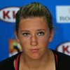 Photo - Victoria Azarenka of Belarus speaks during a press conference after her quarterfinal loss to Agnieszka Radwanska of Poland at the Australian Open tennis championship in Melbourne, Australia, Wednesday, Jan. 22, 2014. (AP Photo/Shuji Kajiyama)