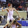 Collinsville\'s Dylan Helm celebrates his win over Western Heights\' Aaron Guery in the 132-pound match during the state wrestling championships at the State Fair Arena in Oklahoma City, Saturday, Feb. 25, 2012. Photo by Sarah Phipps, The Oklahoman