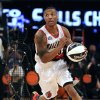 Damian Lillard of the Portland Trail Blazers participates in the skills challenge during NBA basketball All-Star Saturday Night, Feb. 16, 2013, in Houston. (AP Photo/Pat Sullivan)