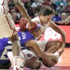 Oklahoma Sooners\' Nicole Griffin (top) and TCU Horned Frogs\' Natalie Ventress (24) fight for the ball in the second half as the University of Oklahoma (OU) Sooners defeated the Texas Christian University (TCU) Horned Frogs 82-54 in women\'s college basketball at the Lloyd Noble Center on Wednesday, Dec. 28, 2011, in Norman, Okla. Photo by Steve Sisney, The Oklahoman