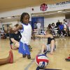 UCO / CHILD / CHILDREN / KIDS: Harvey Parry, 7, of the UK, plays in the sitting volleyball clinic during the opening day of activities for the Endeavor Games at the University of Central Oklahoma on Thursday, June 6, 2013 in Edmond, Okla. Photo by Chris Landsberger, The Oklahoman