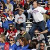 Kansas fans celebrate an early lead during the college football game between the University of Oklahoma Sooners (OU) and the University of Kansas Jayhawks (KU) at Memorial Stadium in Lawrence, Kan., Saturday, Oct. 19, 2013. Oklahoma won 34-19. Photo by Bryan Terry, The Oklahoman