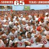 UNIVERSITY OF OKLAHOMA SOONERS 65 TEXAS LONGHORNS 13 - OU COLLEGE FOOTBALL POSTER GRAPHIC with photo: DALLAS, Saturday,10/11/2003: GROUP SHOT PHOTO: University of Oklahoma vs. University of Texas college football at Cotton Bowl. OU team celebrates on field after 65-13 win over Texas Longhorns Saturday. Staff photo by Jim Beckel.