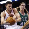 Boston Celtics center Kelly Olynyk (41) reaches in to try and knock the ball away from Oklahoma City Thunder forward Nick Collison in the second quarter of an NBA basketball game in Oklahoma City, Sunday, Jan. 5, 2014. (AP Photo/Sue Ogrocki)